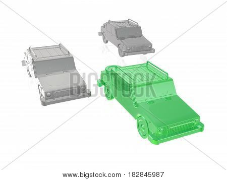 Green and grey cars on white reflective background 3D illustration.