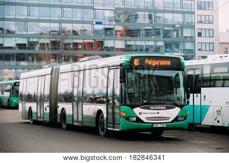 Tallinn, Estonia - December 2, 2016: Bus Is Parked In Parking Lot On The Hobujaama Street.
