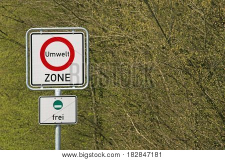 German sign environment zone, green plaque (Germany)