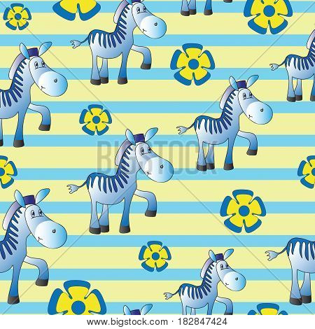 Funny Zebra. Zoo. Seamless pattern with zebras and blue flowers on a striped background. Cute papers for babies and children. Background yellow-blue. Design for textiles.