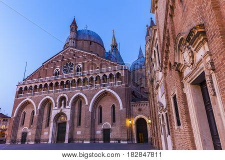 Piazza del Santo and Basilica of St. Anthony in Padua. Padua Veneto Italy.