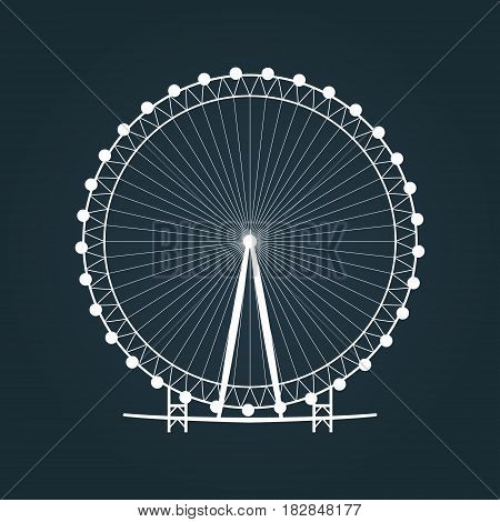 Ferris wheel silhouette. Carousel icon. Vector illustration.