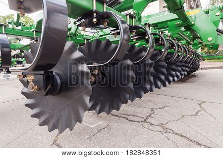 Agricultural equipment for fields. Plow close up.