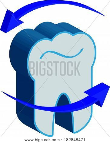 3D tooth with arrows  on white background. Vector illustration.