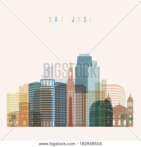 Transparent style. San Jose state California skyline detailed silhouette. Trendy vector illustration