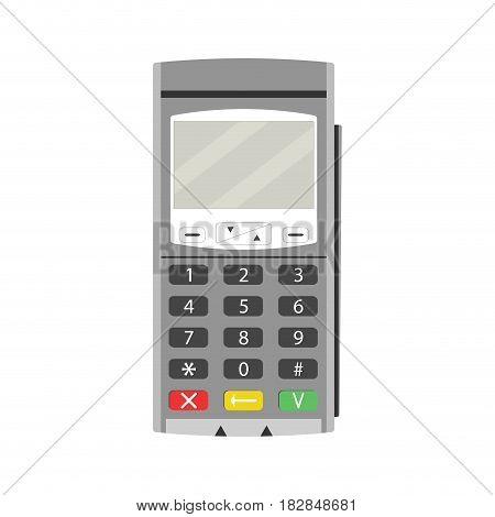 Terminal for payment by card. Payment machine credit card and pos terminal vector credit card machine illustration of card terminal
