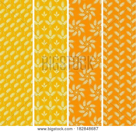 Set of bright seamless patterns with wheat ears. Orange and yellow agricultural background about harvest and grain. Flowers from wheat wheat rows and windbend wheat