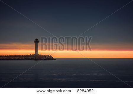 Old Lighthouse In Varna, Bulgaria At Sunrise