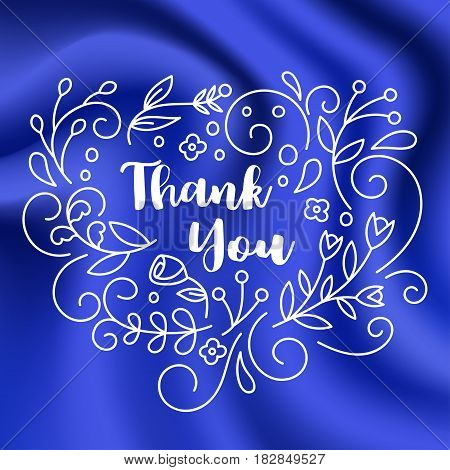 Thank You Card with Line art floral decoration on blue silk texture background. Vector illustration