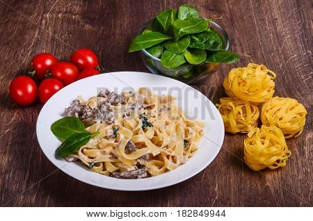 Pasta Is Meat. Tagliatelle With Beef