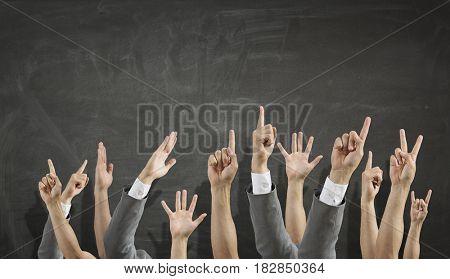 Hands showing gestures . Mixed media