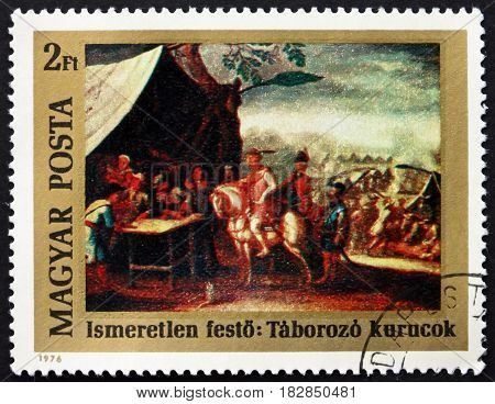 HUNGARY - CIRCA 1976: a stamp printed in Hungary shows Camp of the Kurucs Painting by Unknown Painter 300th Birth Anniversary of Francis II Rakoczy Leader of Hungarian Protestant Insurrection circa 1976