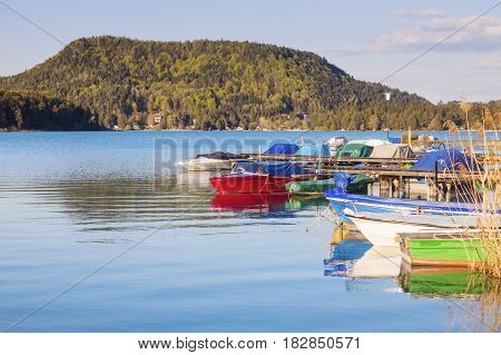 Colorful landscape by Lake Faak. Carinthia Austria.