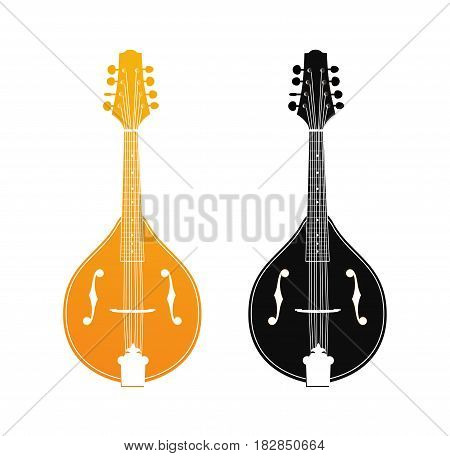 Set of Mandolin in Orange and Black Colors isolated on white Vector Icons of Folk Acoustic Strings Instruments in Classical Design.