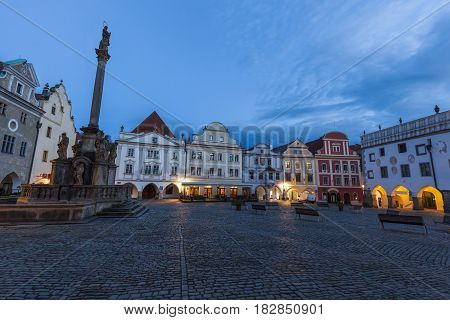 Beautiful Cesky Krumlov - town square at dawn. Cesky Krumlov South Bohemia Czech Republic.