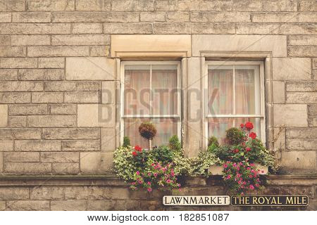 Window, wall and floral window box detail on The Royal Mile in Edinburgh, Scotland. Retro, matte finish processing.