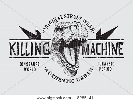 dangerous tyranosaur head .Killing machine.Graphic emblem for prints design of t-shirts or other apparel. angry t-rex