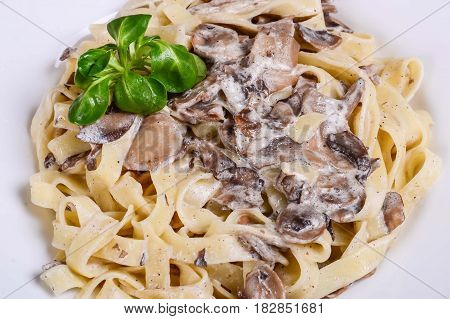 Vegetable Paste. Tagliatelle In Creamy Sauce With Mushrooms