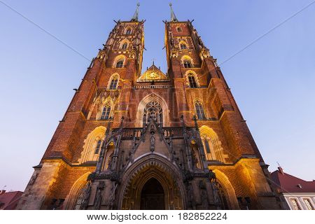 Wroclaw Cathedral at night. Wroclaw Lower Silesian Poland.