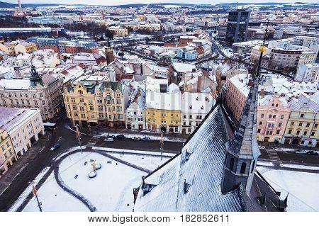Republic Square in Pilsen - aerial view. Pilsen Bohemia Czech Republic.