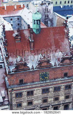 Old Town Hall on Republic Square in Pilsen - aerial view. Pilsen Bohemia Czech Republic.