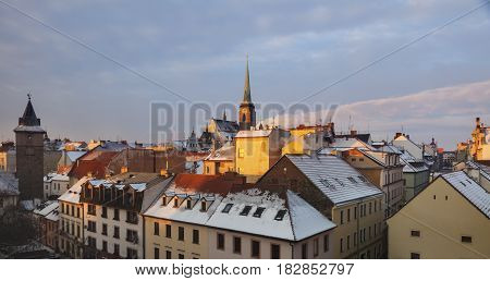 St. Bartholomew Cathedral and Old Water Tower in Pilsen. Pilsen Bohemia Czech Republic.