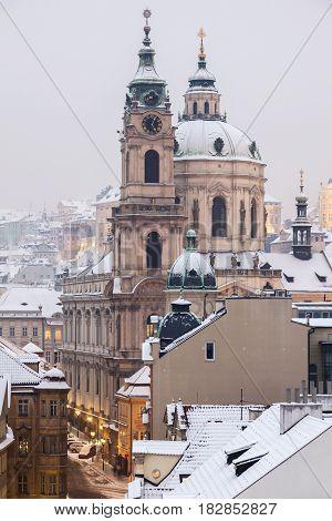 St. Nicholas Church in Prague. Prague Bohemia Czech Republic.