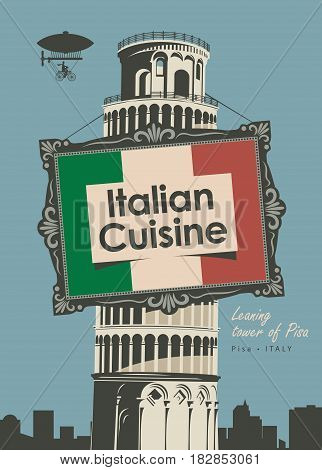 vector banner for a restaurant Italian cuisine with italian flag and leaning tower of pisa