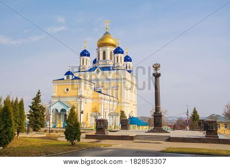 Ascension Cathedral on the Red Square of the ancient Russian town of Yelets