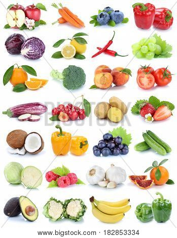 Fruits And Vegetables Collection Isolated Apple Orange Bananas Tomatoes Fresh Fruit