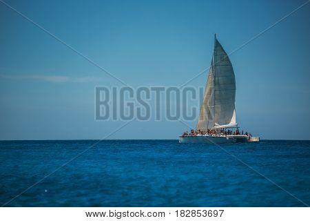 Catamaran sailing in Carribean sea near Punta Cana Dominican Republic