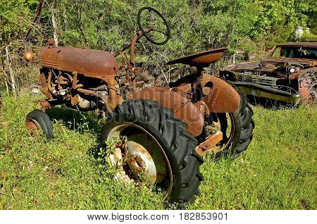 Old rusty tractor parked in the brush and weeds