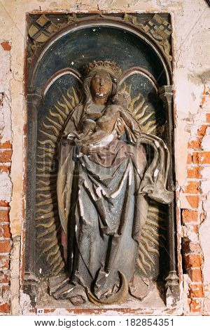 Riga, Latvia - July 2, 2016: Castle Of Riga Relief With The Image Of Virgin Mary In Museum Of Dome Cathedral.