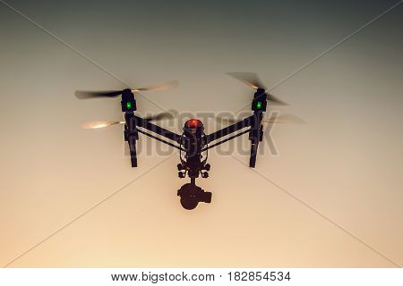 Varna, Bulgaria - July 09,2016: Image Of Dji Inspire 1 Pro Drone Uav Quadcopter Which Shoots 4K Vide