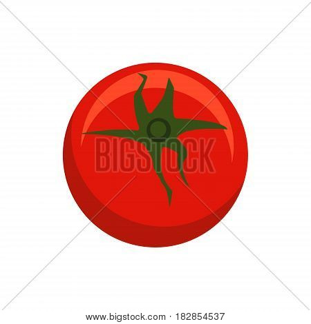 Red tomato logo icon in flat style solated on white background. Farmer Ripe vegetable, healthy food - stock vector illustration.