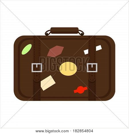 Flat brown color trip suitcase for tourism vacation, with travelers stickers isolated on white background - vector stock illustration.