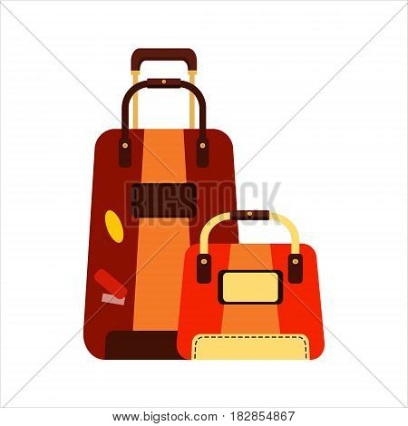 Flat set brown and orange color trip suitcases for tourism vacation, with travelers stickers isolated on white background - vector stock illustration.