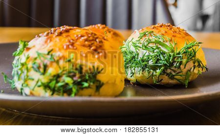 Closeup Of Traditional Turkish Pastry Filled With Cheese And Dill