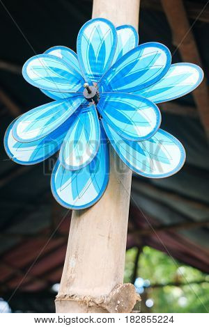 Decorative colorful pinwheel windmill toy on the bamboo pole