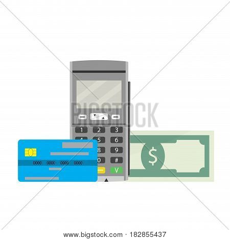 Cashless payments vector. Terminal machine device for paying and buy illustration