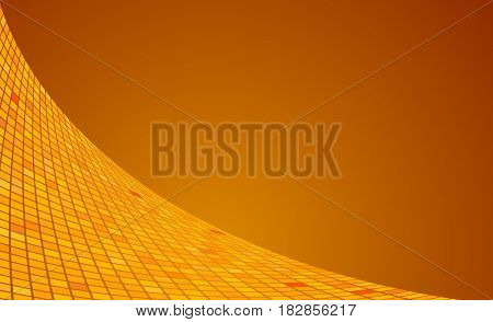 Abstract futuristic orange vector background. Squares wave cyber motion backdrop. Elegant surface creative horizontal template.