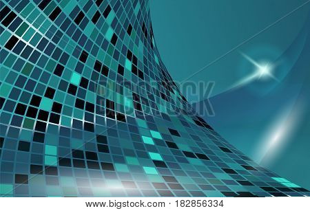 Dynamic futuristic blue vector horizontal background. Shining motion power hyperspace backdrop. Creative glowing presentation template.