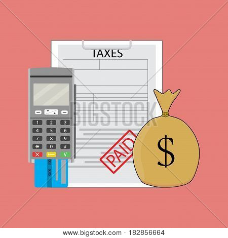 Tax paid graphic sack money witth tax form. Vector illustration