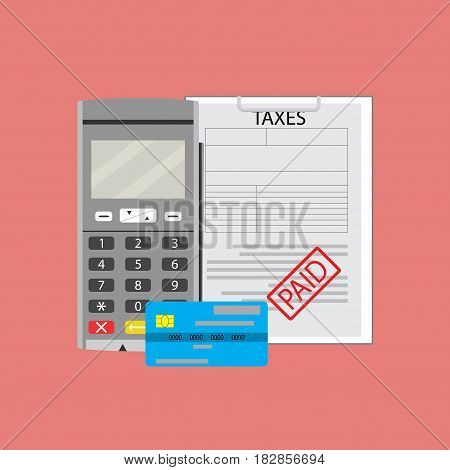 Payment transaction tax. Paying transfer money for tax. Vector illustration