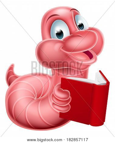 An illustration of a happy cute cartoon caterpillar worm mascot reading a book