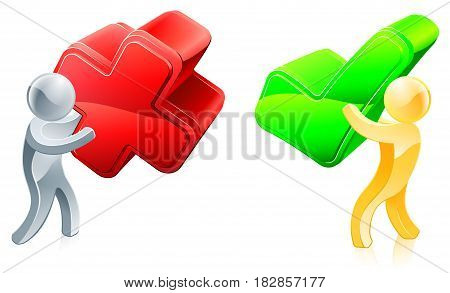 People holding a green cross and a red tick, concept for voting or disagreeing