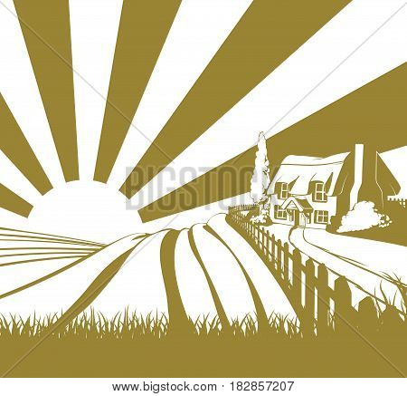 Thatched cottage farm field landscape concept illustration with rolling hills and sunrise