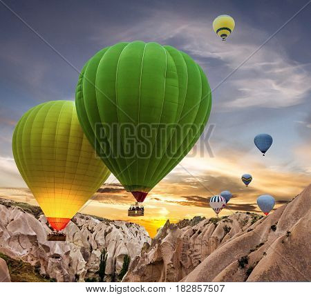 Hot air balloons in Cappadocia, Anatolia, Turkey
