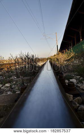 Retro rails for train - antique train way