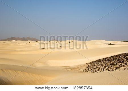 Sandy desert on the island of Boa Vista, Cape Verdi poster